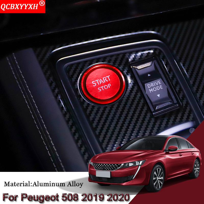 START Engine Button Cover STOP <font><b>Key</b></font> Ignition Switch Cover For <font><b>Peugeot</b></font> 508 2008 2019-2020 3008 4008 5008 2016-2019 <font><b>208</b></font> e-<font><b>208</b></font> 2020 image