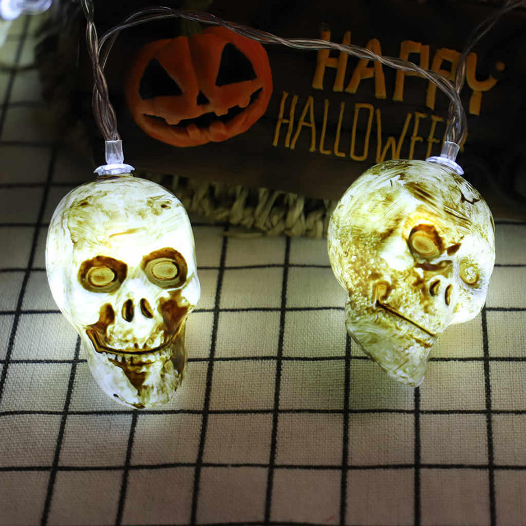 Цветная (RGB) 10 Светодиодные ленты света SMD 1,5 м Halloween, череп светодиодные полосы света гибкий шнур лампа декоративное освещение 822