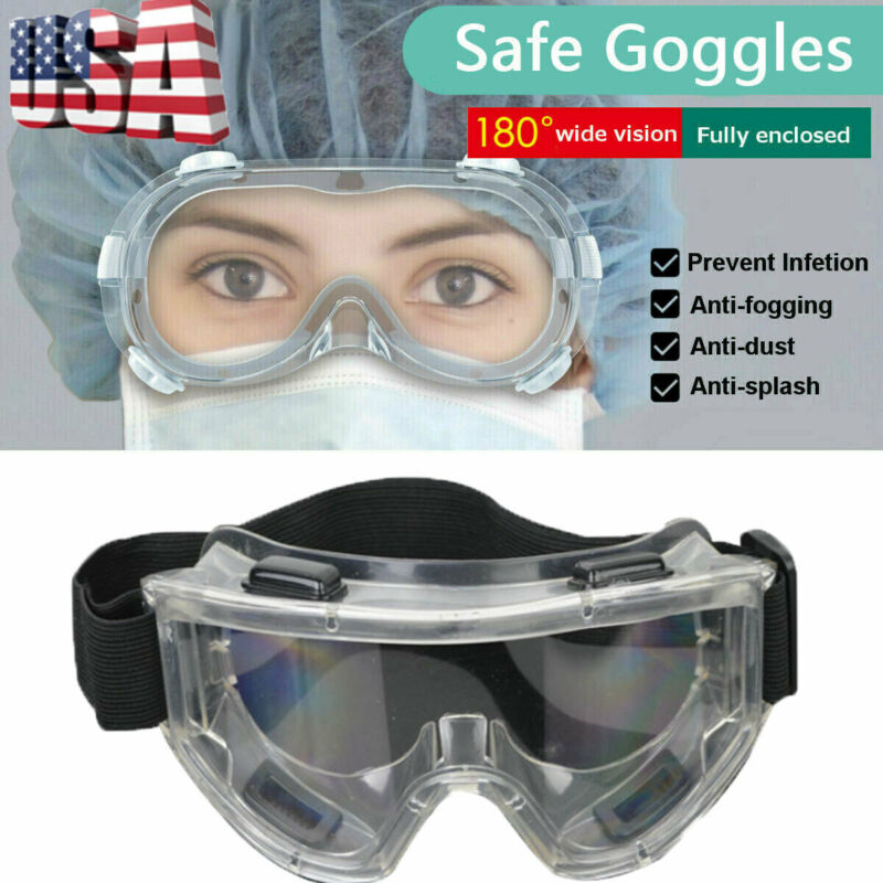 Safety Lab Glasses Protective Virus Medical Goggles Chemical Industrial Eyewear Black Belt Goggles