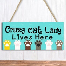 Unique Family Home Decoration Hanging Sign Crazy Cat Lady Lives Here Wood Hanging Plaque