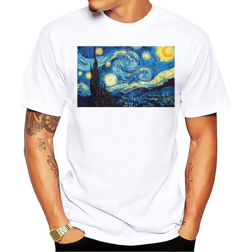 High Definition Vincent Van Gogh Famous The Starry Night Artistic T Shirt Men  New White Casual Homme Tshirt
