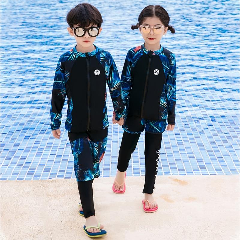 South Korea Children Sun-resistant Swimming Suit Long Sleeve Snorkeling Suit Girls BOY'S Split Type Big Boy Baby Swimwear Diving