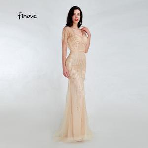 Image 3 - Finove 新マーメイドイブニングドレス 2020 セクシーな V ネック完全ビーズイリュージョン床の長さパーティードレスフォーマルロングドレス