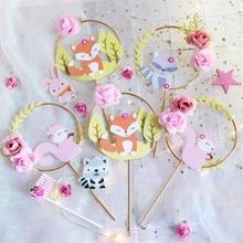 Forest Animal Theme Cake Topper Fox Squirrel Cat Garland Flower Christmas Wedding Birthday Decoration Cupcake