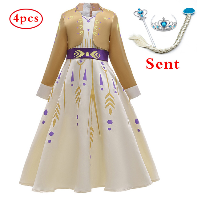2019 New Dress For Girls Clothing Frozen 2 Anna Princess Set Christmas Cosplay Elsa Birthday Party Sky Blue Evening Party Dress