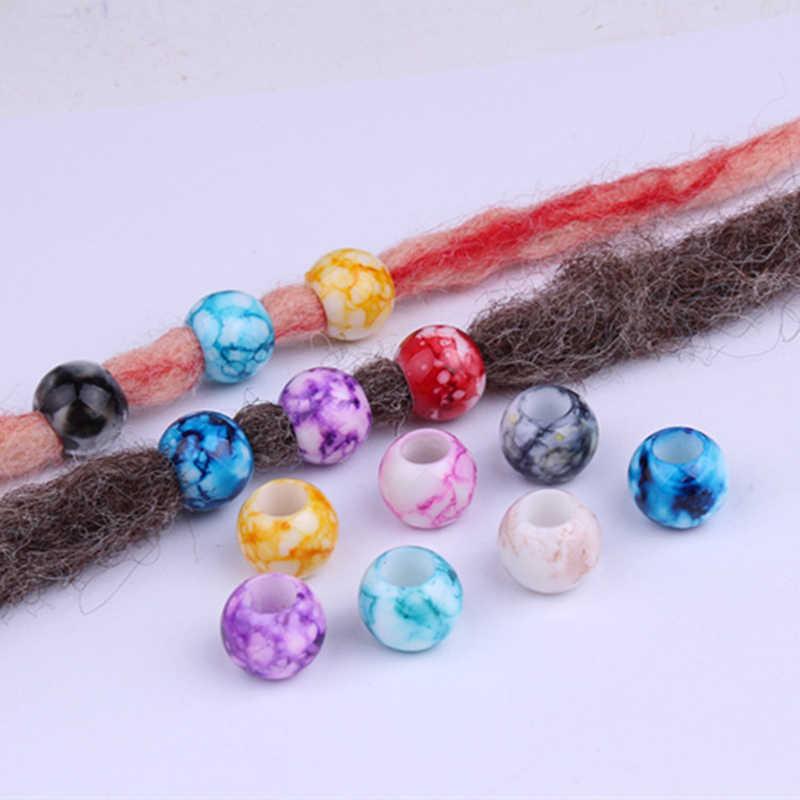 20 piezas coloridas trenzas de ganchillo para niños acrílico trenza de pelo dread dreadlock cuentas anillos tubo trenzado accesorios para el cabello
