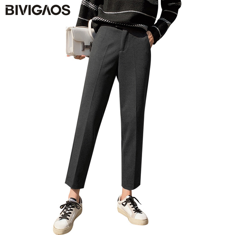 BIVIGAOS 2019 New Autumn Winter Straight Wide Leg Wool Pants Women Thick Pencil Pants Harem Pants Slim Casual Woolen Suit Pants