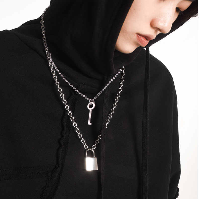 Stainless Steel  Key Lock Necklace Double Layer Punk Link Chain Padlock Pendant Necklace Hiphop Women Men Fashion Gothic Jewelry