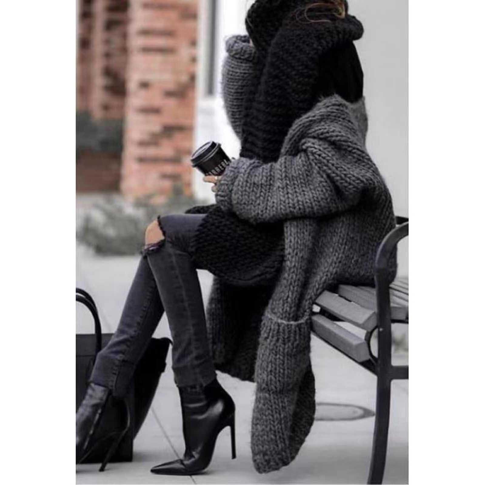 Женский модный однотонный свитер с длинным рукавом, повседневный вязаный женский зимний весенний плотный свитер с карманами, черное теплое пальто, женская куртка e4
