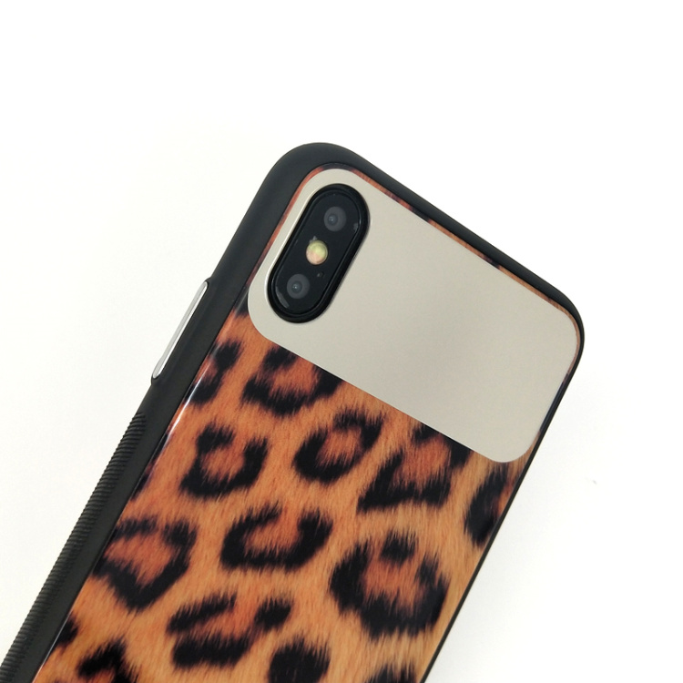 Image 3 - wholesale!!! 10pcs/set women leopard mirror toughened glass back cover case For iPhone X XR XS Max 8 7 Plus lady phone back case-in Fitted Cases from Cellphones & Telecommunications