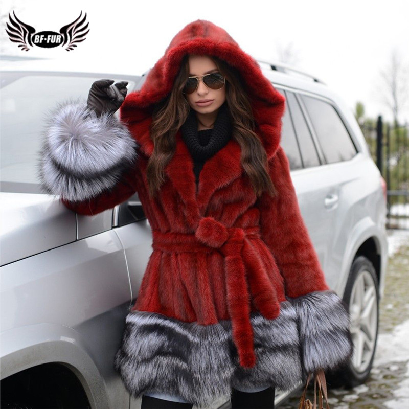 Women Fashion Genuine Mink Fur Coat With Big Hood Luxury Red Natural Mink Fur Coat Real With Sliver Fox Fur Bottom And Collar