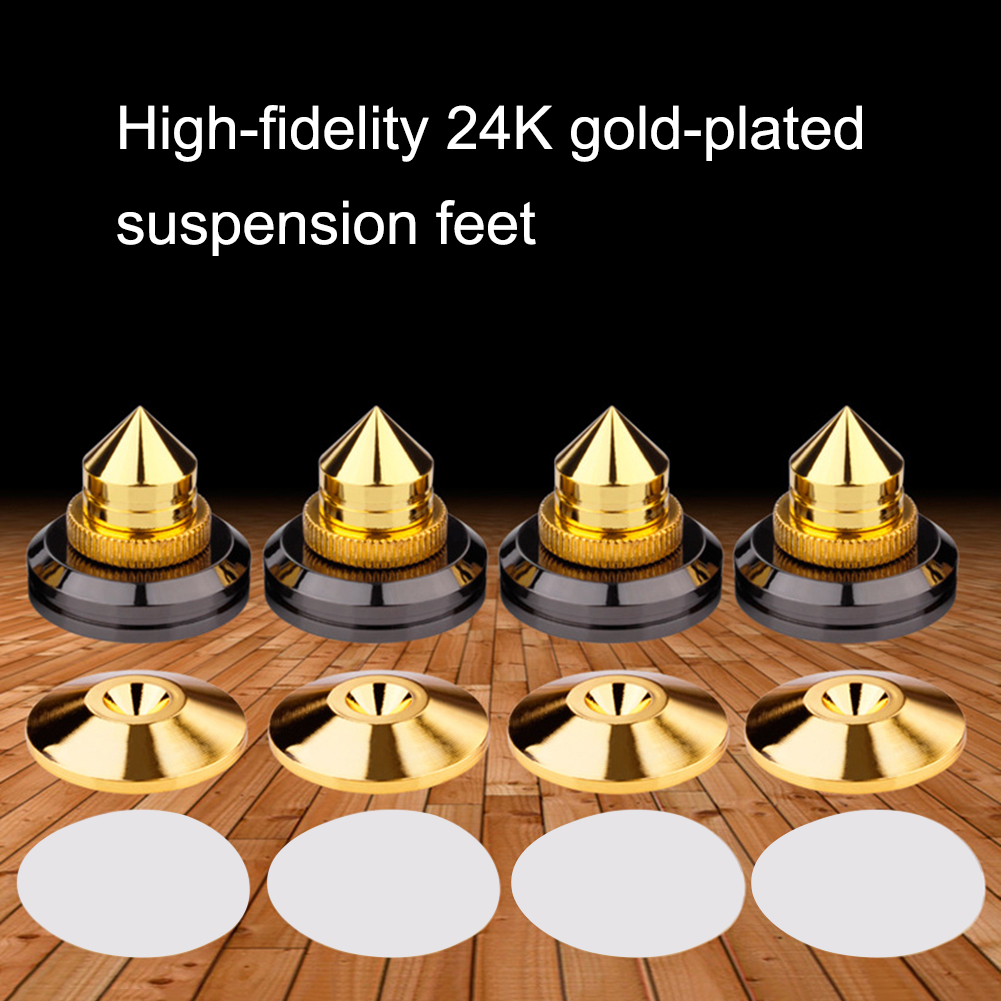 4pcs/set Speaker Spike Stand Feet Cone Base Pads Stick-on Turntable Subwoofer CD Audio Amplifier With Double-sided Adhesive
