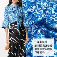 Tissu en porcelaine imitation soie extensible, motif imprimé bleu et blanc, satin polyester doux à la mode pour dames, écharpe de chemise, bricolage