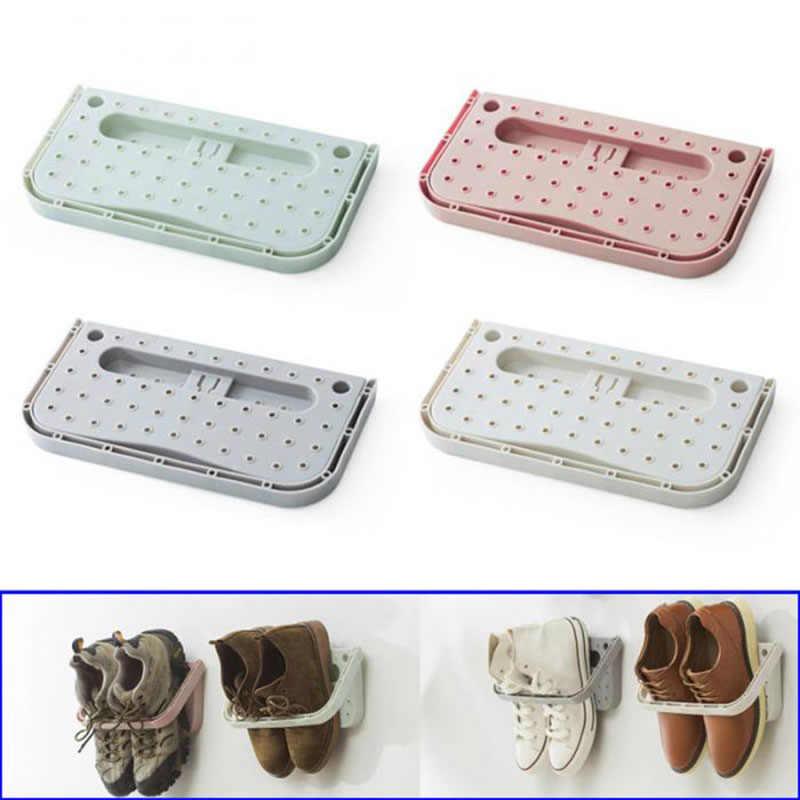 Heißer Verkauf Kunststoff Wand Klebrige Hängen Schuh Veranstalter Lagerung Stehen Regal Rack Schuhe Halter
