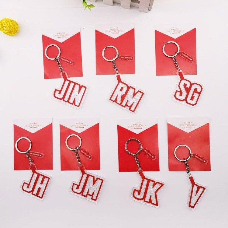Kpop Bangtan Boys Key Chains Pendant Red Key Ring LOVE YOURSELF Kpop Bangtan Boys Keychain Stationery Set