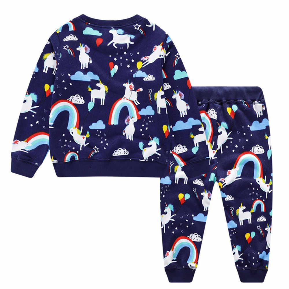 Conjuntos de ropa para niños, trajes para el hogar, pantalones de manga larga con estampado de unicornio, trajes de 2 piezas, ropa para niños, Casual chándal