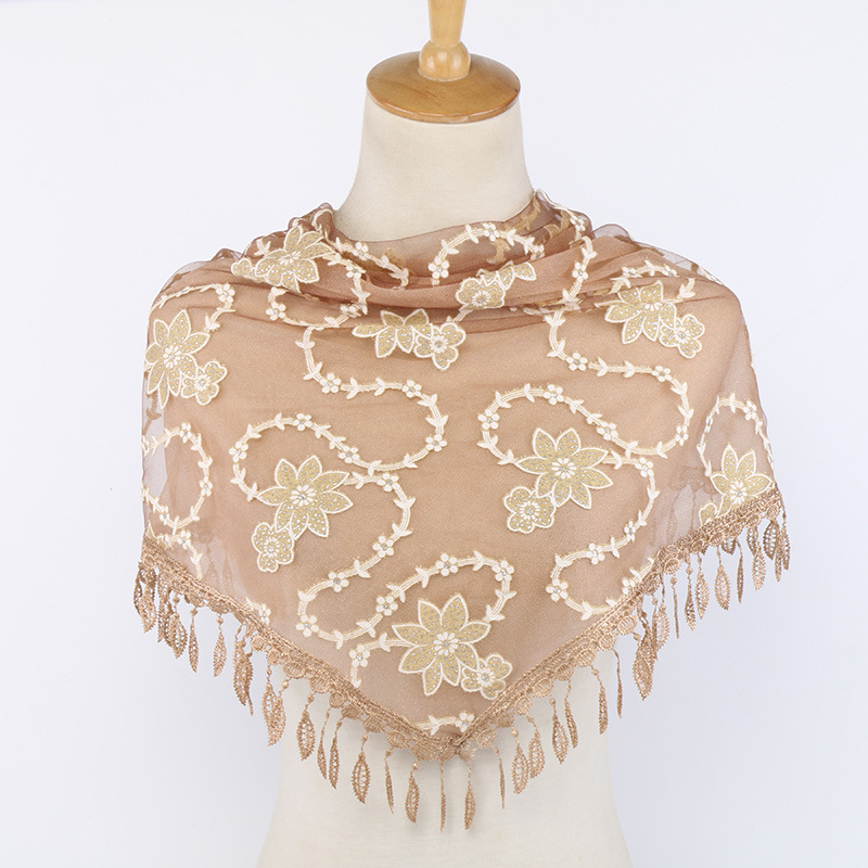Fashion Scarf Women Shawls Floral Embroidery Lace Triangle Scarf Luxury Brand Half Handkerchief Women