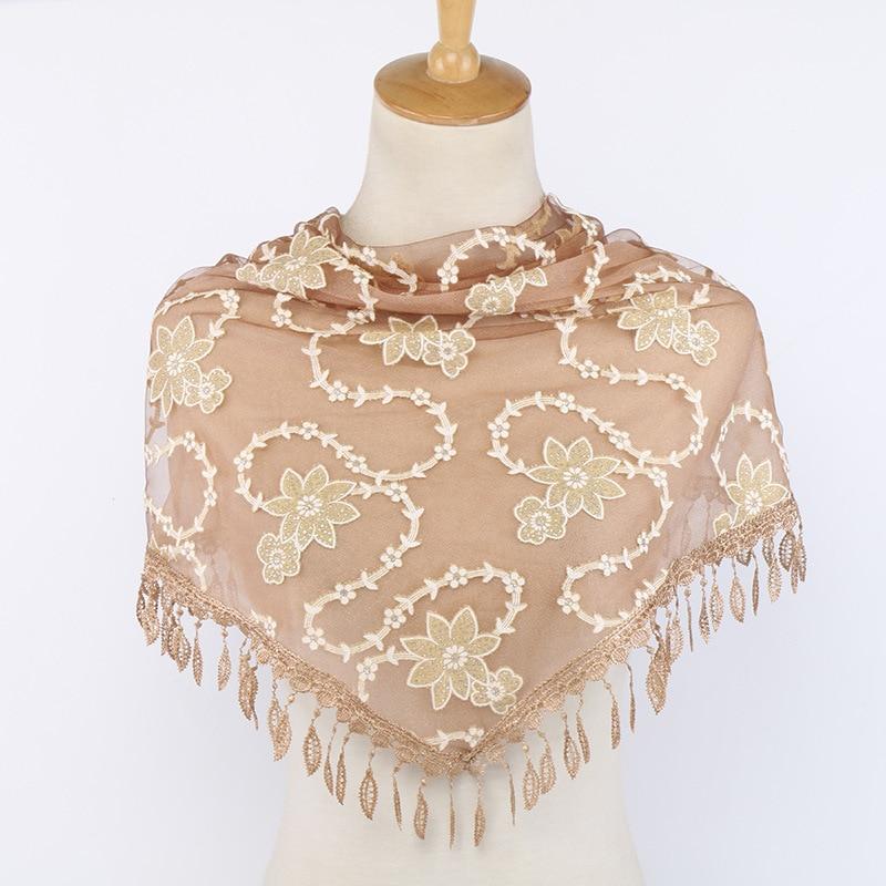 Fashion Scarf Women Shawls Floral Embroidery Lace Triangle Scarf Luxury Brand Half Handkerchief Women
