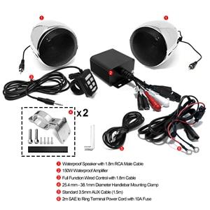 Image 3 - Aileap ensemble Audio pour moto, 150W, avec amplificateur stéréo 2ch, haut parleur 4 pouces, étanche, entrée USB, Bluetooth, Radio FM, AUX et MP3