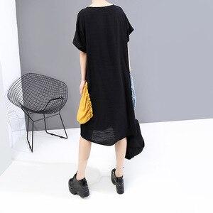 [EAM] Women Black Big Pocket Split Big Size Dress New Round Neck Half Sleeve Loose Fit Fashion Tide Spring Summer 2020 1U910