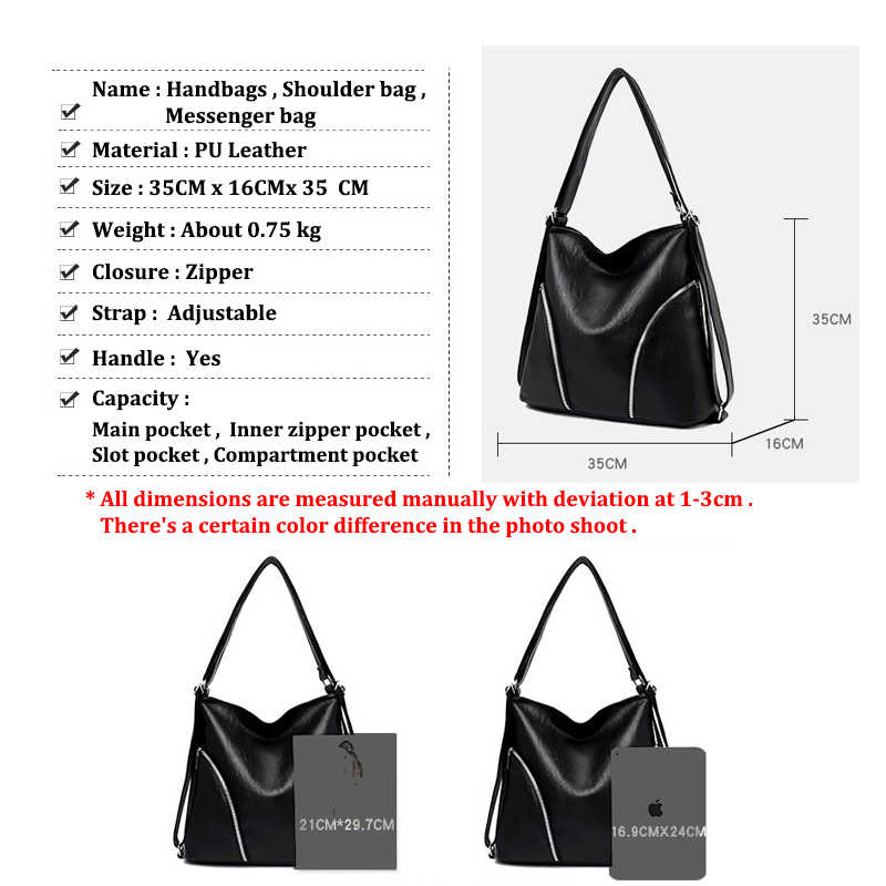 Znakomity Casual Women Leather Handbag Black Ladies Large Capacity Shoulder Bags Women Handbag Leather Shoulder Bag Fashion Tote