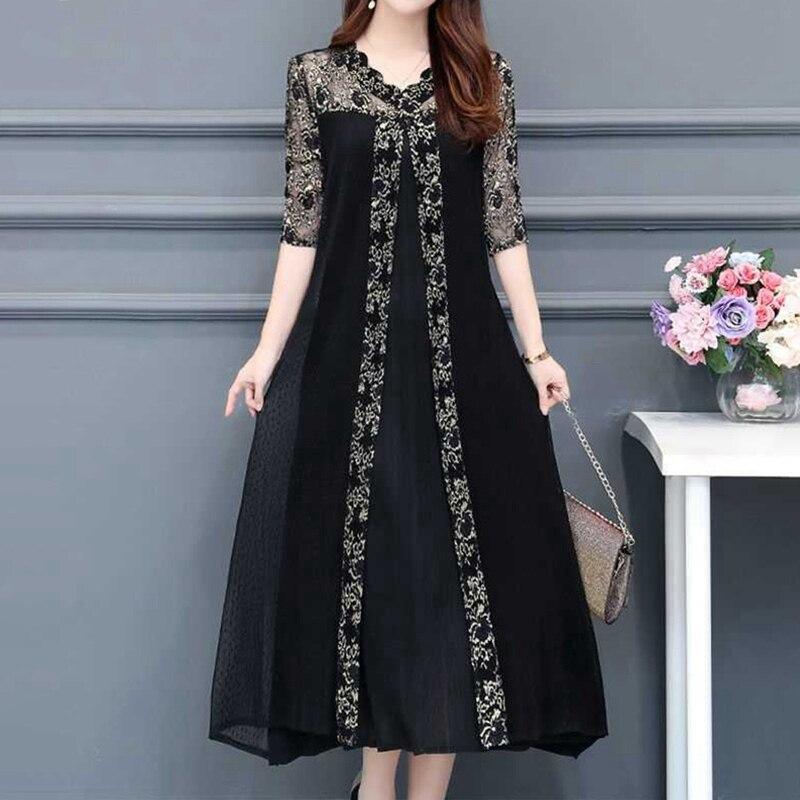 Woman Dress 2020 Vintage Lace Mash Long Party Midi Black Dresses Elegant