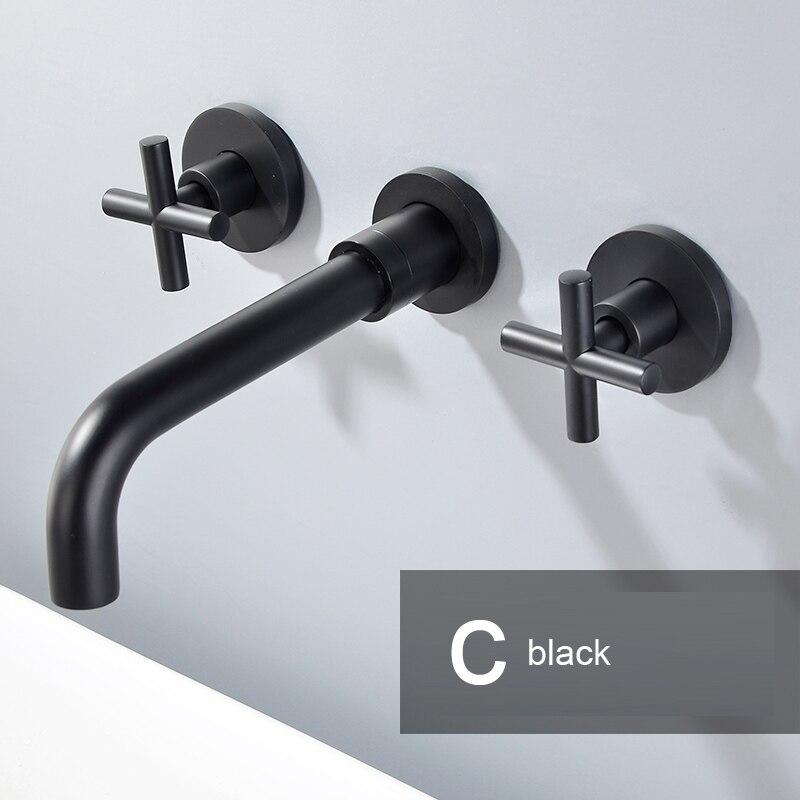 Robinets de lavabo cascade noir Chrome robinet de cascade à montage mural mitigeur mitigeur salle de bains robinet de bassin cascade