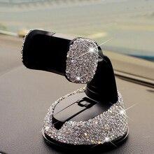 Soporte de teléfono de coche con diamantes de imitación de cristal, 360 grados, para salpicadero de coche, ventanas automáticas y ventilación de aire, soporte para móvil de coche