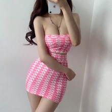 WOMENGAGA 2021 Sommer Gestrickte Elastizität Plaid Rosa Sexy Hot Korea Liebsten Slash Hals Tank + Frauen Mini Kleid Zwei Stücke 7XFX