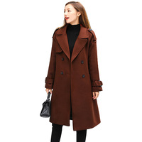 Women Wool Coat Autumn Winter New Temperament Woolen Coat Woman Medium Length Long Sleeve Woolen Coat Windbreaker