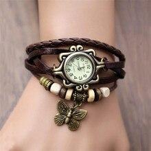 Butterfly Watch Clock Women's Casual Vintage Retro Rivet Braided Bracelet Leather Strap Lady Wrist Watches Female Reloj Mujer недорго, оригинальная цена
