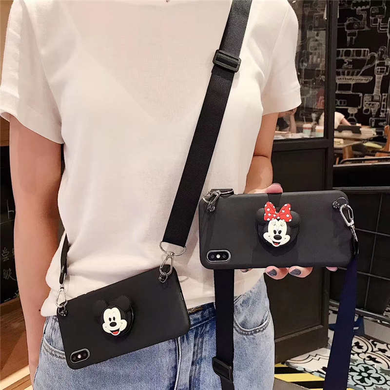 3D Minnie Cartoon Silicone Phone Case For Samsung Galaxy S20 Ultra S8 S9 Plus S10 5G Neck Lanyard Bracket Cover Note 8 9 10 Pro