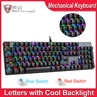 MOTOSPEED CK104 Gaming Keyboard Russian/English Mechanical Keyboard Blue/Red Switch Metal Key LED RGB/Backlit Keyboard for Gamer