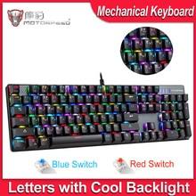 Механическая клавиатура MOTOSPEED CK104 для игр, русская/английская клавиатура для геймеров, синий/красный переключатель, металлические клавиши, светодиодная RGB подсветка