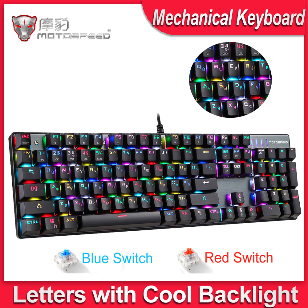 MOTOSPEED Metal Gamer Ck104-Gaming-Keyboard Russian/English-Mechanical-Keyboard Blue/red-Switch title=