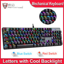 Motospeed CK104 Teknik Keyboard RGB Backlit Bahasa Rusia Bahasa Inggris Gaming Keyboard Logam Tombol Biru/Merah Switch untuk Overwatch Gamer(China)