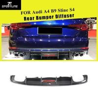 For S4 Carbon Fiber Rear Bumper Diffuser Lip Spoiler For Audi A4 B9 Sline S4 A4 Sedan 4 Door 2017 2018 2019 Bumper Guard