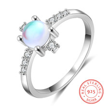Moonstone Ring 925 Sterling Silver Engagement Wedding Rings for Women Clear CZ Finger Rings Real Sterling Silver 925 Jewelry slovecabin real 925 sterling silver link chain lock finger rings for women vintage napkin wedding rings for women bijoux female