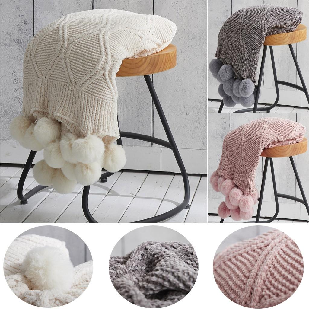 Pom Pom Throw Blanket Knit Throw Blankets With Pompom Fringe Soft
