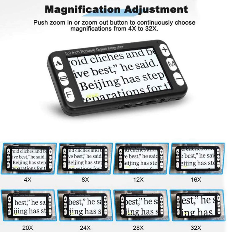 TOP 5 Inch Video Vergrootglas LCD Draagbare Digitale 4X 32X Zoom, handheld Elektronische Reading Aid voor Low Vision Aangetast, 19 Kleur M - 4
