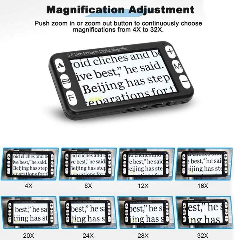 Zoom portátil de digitas 4x 32x do lcd da lupa do vídeo da parte superior 5 Polegada, ajuda eletrônica handheld da leitura para a baixa visão prejudicada, 19 m da cor - 4