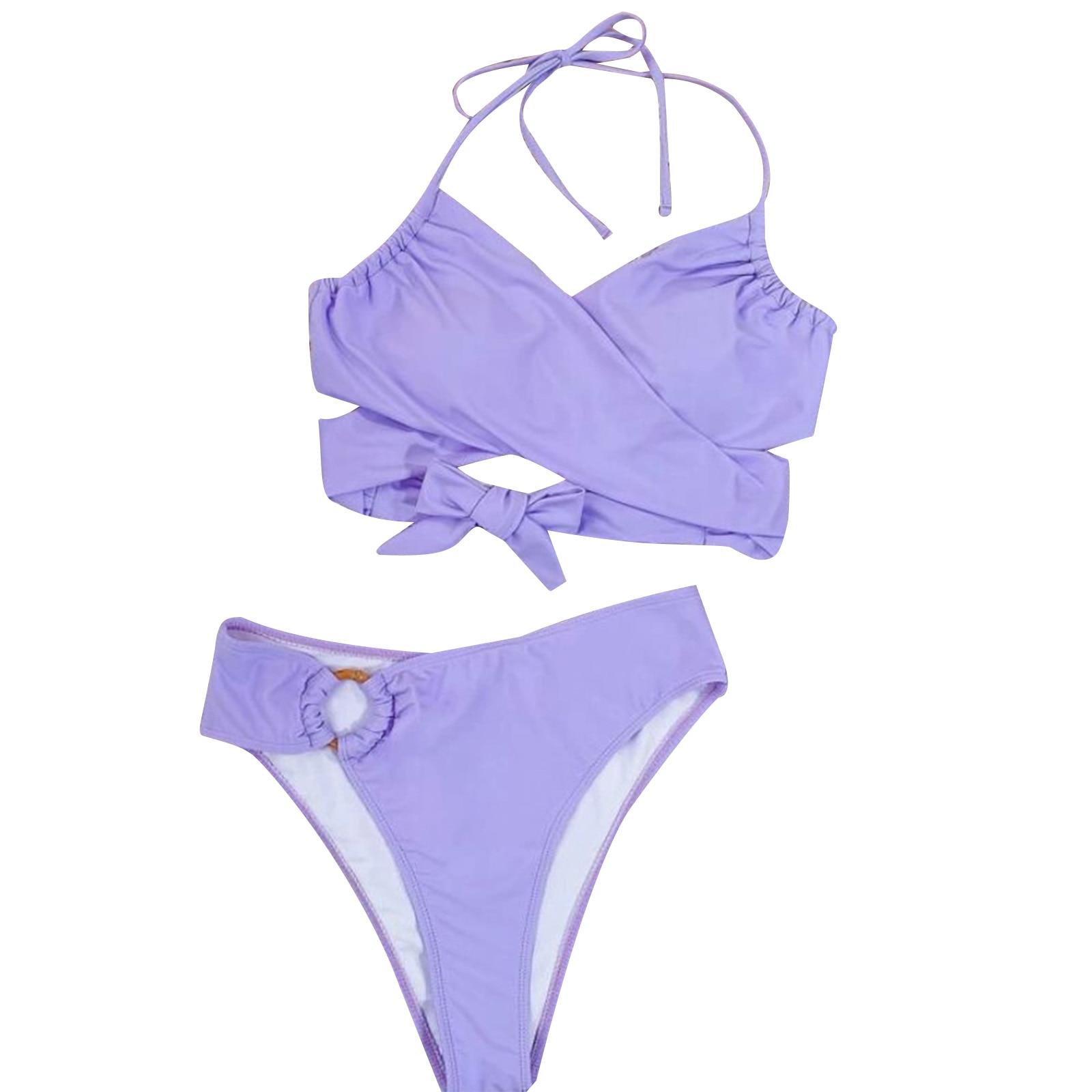 Women Female Two-Piece Swimsuits Womens Solid Color Bikini Top+ High Waist Panties Purple S/M/L 2