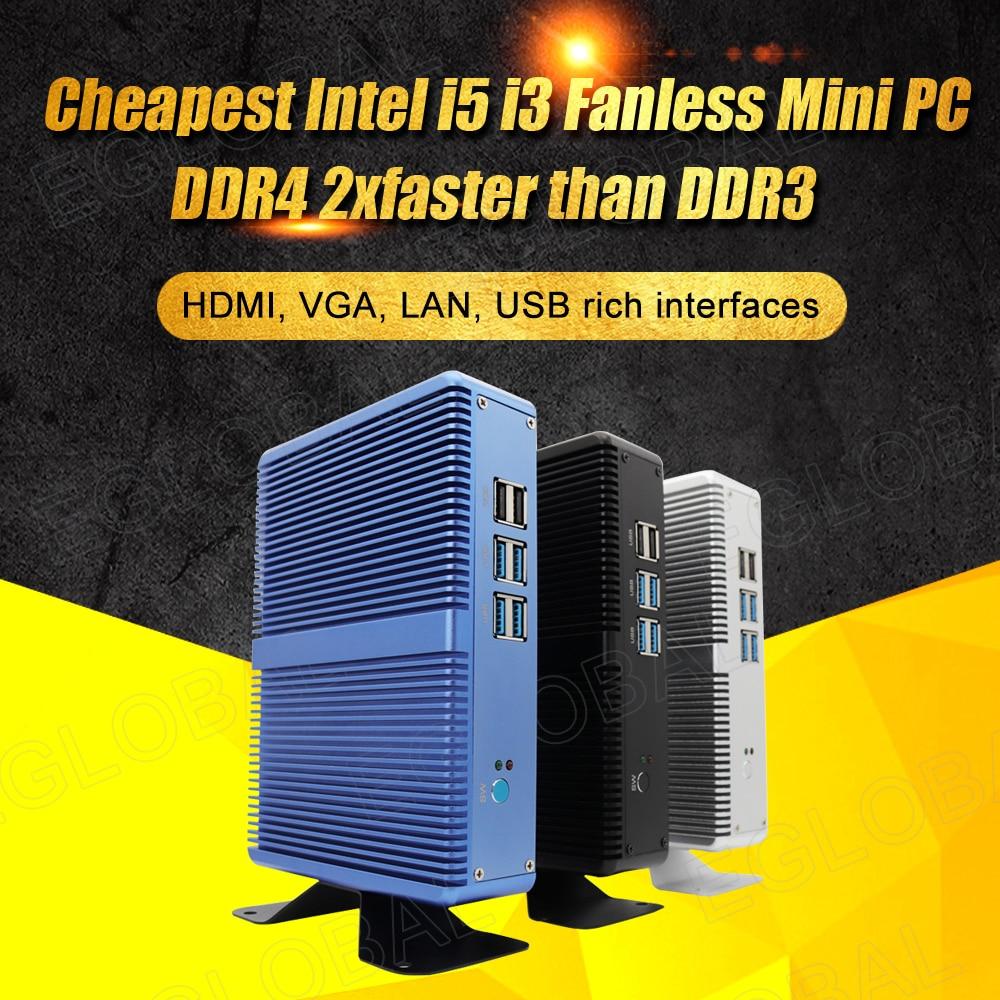 Eglobal Fanless Mini PC Intel Core I3 5005U I3 7100U I5 7200U I7 5500U Linux Windows Thin PC 6*USB 1 RJ45 Lan VGA HDMI HTPC