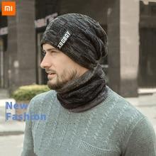 Xiaomi Neck Warmer Knitted Hat Scarf Set Fur Wool Lining Thick Warm Knit Beanies Balaclava Winter Hat Men Cap Casual 1 set