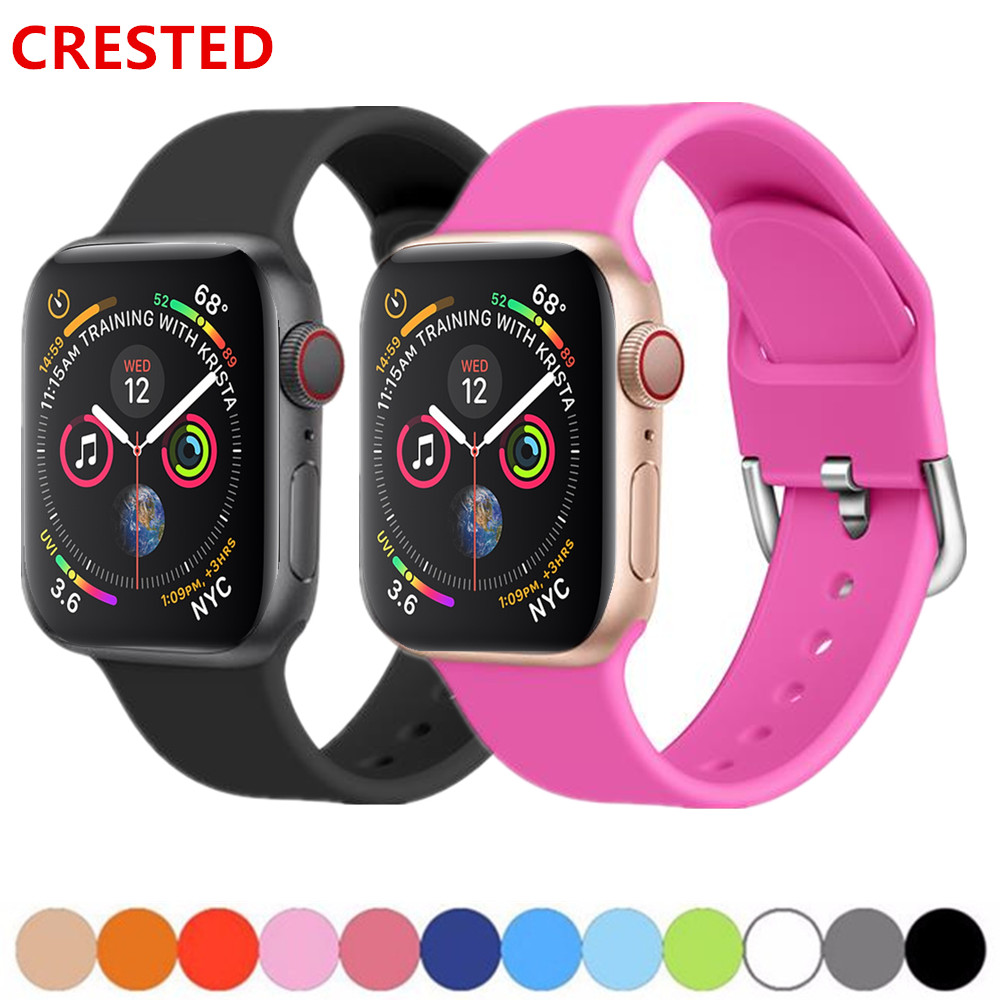 Silicone Strap For Apple Watch Band 44mm 40mm Apple Watch 5 4 3 Band 38mm 42mm Iwatch Band 5 Correa Bracelet Watchband Belt