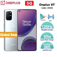 Küresel Rom OnePlus 8T 12GB 256GB Snapdragon 865 5G Smartphone 120Hz AMOLED sıvısı serigrafi 64MP 65W çözgü şarj