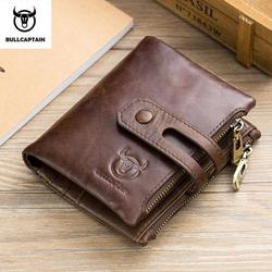 BULLCAPTAIN Genuine Leather RFID Men Wallet Credit Business Card Holders Double Zipper Cowhide Leather Wallet Purse Carteira B02
