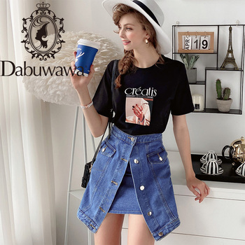 Dabuwawa Button Front Jeans Skirts Womens Natural Waist Solid Pocket A Line Casual Slim Fit Short Skirts Female DN1BSK014 dabuwawa single breasted solid pocket patched skirts women high waist office ladies casual slim fit a line skirt d18bsk005
