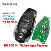 3btn Inteligente 433MHZ remoto Chave fob Para Volkswagen Touareg 2011 2012 2013 2014 com Chip com chave de emergência PCF7945 7P6959754AL