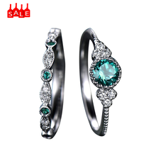 2pcs Sparkling Gemstone Ring Set New Luxury Green Blue Stone Crystal Rings Women Emerald Sapphire fashion Wedding Rings #ZA(China)